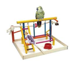 Penn Plax Wood Bird Playpen, Parrot Playstand Playground Per