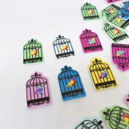 Wood Buttons Mix Bird Cage Shape Sewing Scrapbook Craft  Dec