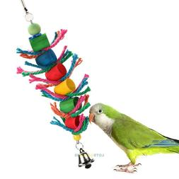 Wood Hanging Colorful Pet Bird Cage Cylinder and Rope Toy fo