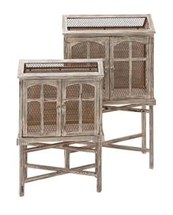 Benzara The Beautiful Wood Metal Bird Cage, Set of 2