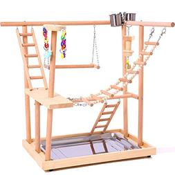 QBLEEV Wood Parrot Playground Perches with Swing,Chewing Cli