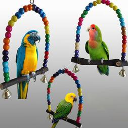 Wood Swing Bird Toy Parrot Cage Toys Finch Parakeet Cockatie