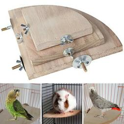 Wooden Bird Parrot Cage Perches Platform Stand Rack Hanging