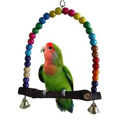 Yosoo Multi-color 14cmx14.3cm Wooden Bird Swings Budgie Toys