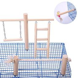 QBLEEV Wooden Bird Toys Set Placed in/on The Birdcage,Parrot