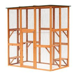 "PawHut 71"" x 39"" x 71"" Large Wooden Outdoor Cat Enclosure Ca"