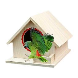 Wooden Garden Bird Cage Wood Birdhouse Nesting Box House Nes