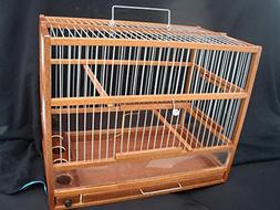 Wooden Hand Crafted Bird Cage; Slide Out Tray, Plexiglas
