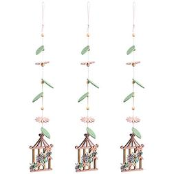 Juvale Wooden Hanging Ornament, 3-Pack Home Decoration with