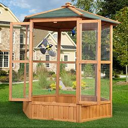 """JAXPETY 64"""" Wooden Heavy Duty Bird Cage Parrot Walk in Large"""