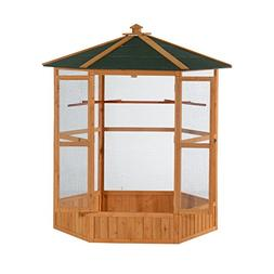 "PawHut 65"" Large Wooden Hexagonal Outdoor Aviary Flight Bird"