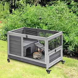 PawHut Wooden Indoor Elevated Bunny Cage Small Animal House