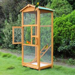 """Wooden Large Bird Cage 65"""" Pet Play Covered House Ladder Fee"""