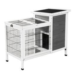 Wooden Outdoor Indoor Bunny Hutch Rabbit Cage Coop PET House