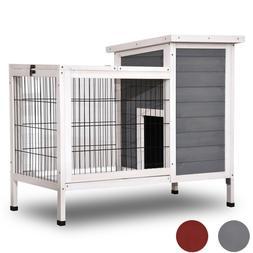 Wooden Rabbit Hutch Bunny Cage Hen House for Indoor Outdoor