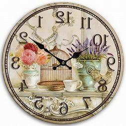 Telisha Wooden Wall Clock Bird Cage Lavender Flower Vase Clo