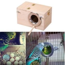 Wooden Wood Bird House Cages Parrot Breeding Nesting Box Vie