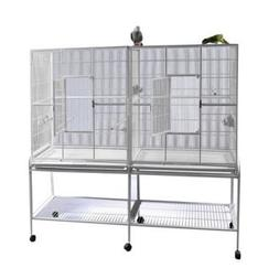 New Large Wrought Iron Double Cage w/ Slide Out Divider 3 Le
