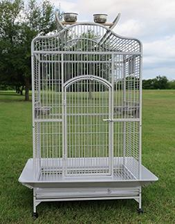 New Large Wrought Iron Open/Close Play Top Bird Parrot Cage,