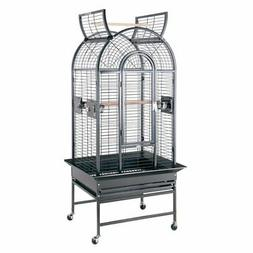 HQ Wrought Iron Small Parrot Cage with Rolling Cart Stand