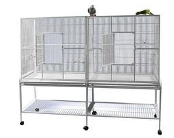 "LARGE 64"" Double Flight Breeding Canary Aviaries Bird Cage W"
