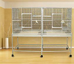 LARGE Double Flight Bird Breeding Cage For Cockatiel Canary
