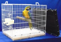 X-LARGE MACAW PARROT -WHITE- TRAVEL CAGE +2-20 oz cups +pedi