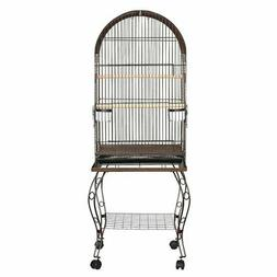 YML 20 in. Dometop Bird Cage with Stand, Silver