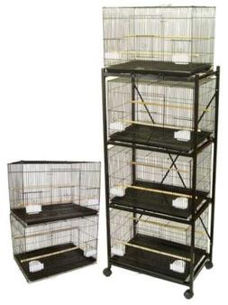 YML Six Small Bird Cage w/ 2 Feeder Doors; Black
